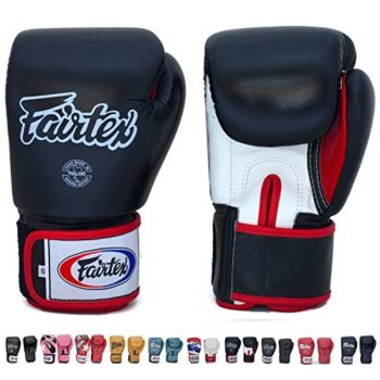 Fairtex-Gloves-Muay-Thai-Boxing-Sparring-BGV1-Size-8-10-12-14-16-oz-in-Black-Blue-Red-White-Pink-Classic-Brown-Emerald-Green-Thai-Pride-US-Nation-and-more-BlackWhiteRed16-oz-0-0