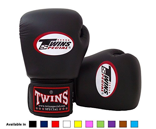 Twins Special Muay Thai Boxing Gloves Solid Black 16 Oz Fight